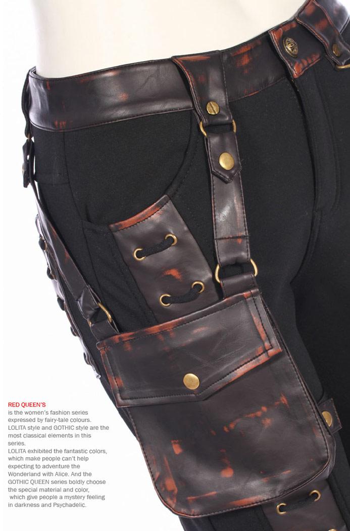 pantalon noir avec faux cuir ab m marron la age et poche steampunk rqbl japan attitude. Black Bedroom Furniture Sets. Home Design Ideas