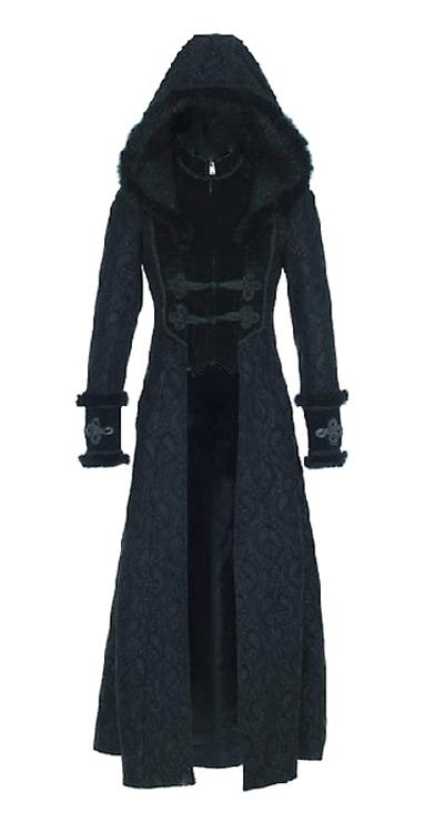 manteau long noir gothique victorien avec capuche et motif
