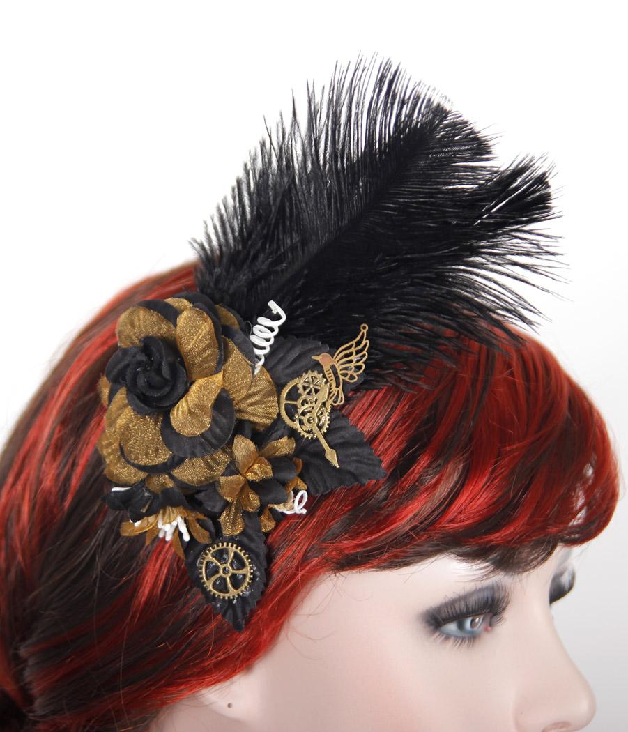 barrette fleur en tissus dor u00e9 et noir avec plumes et