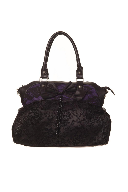borsetta con prua viola vietata motivo Elegante e nera a floreale 4nq4Id