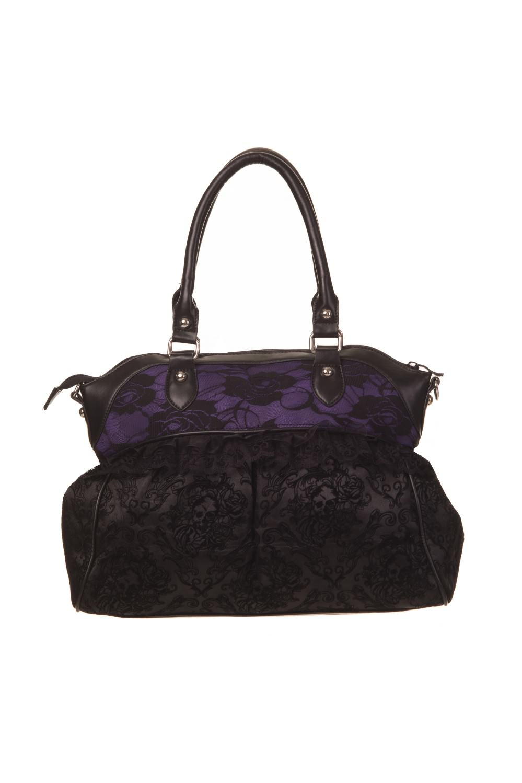 vietata con prua a viola nera Elegante borsetta motivo floreale e wazICBIq