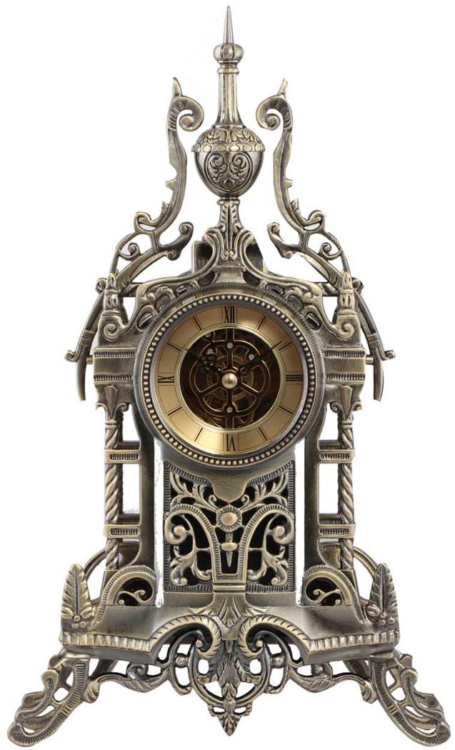 horloge de bureau antique chateau en m tal avec engrenages steampunk 1709 japan attitude. Black Bedroom Furniture Sets. Home Design Ideas