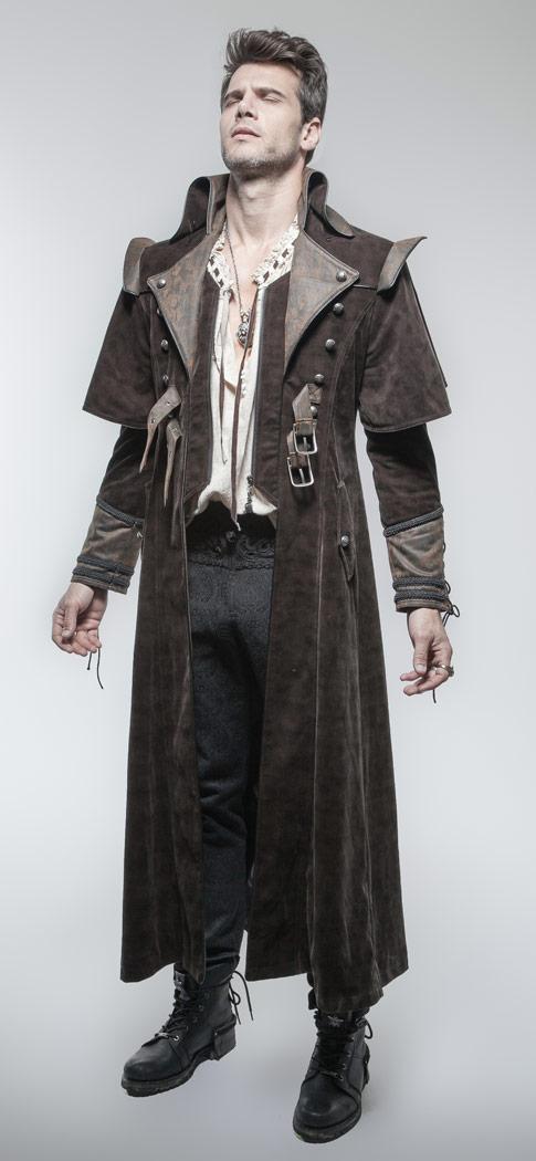 long manteau brun homme m di val steampunk punk rave japan attitude punkr0089. Black Bedroom Furniture Sets. Home Design Ideas