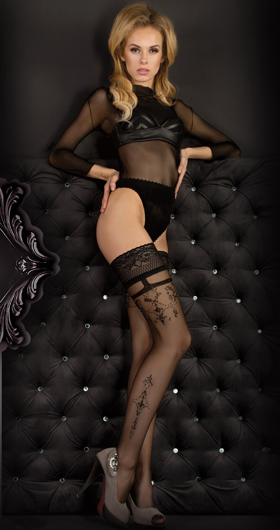 Bas Noir Baroness Dentelle Effet Porte Jarretelle Sexy Burlesque - Porte jarretelle sexy