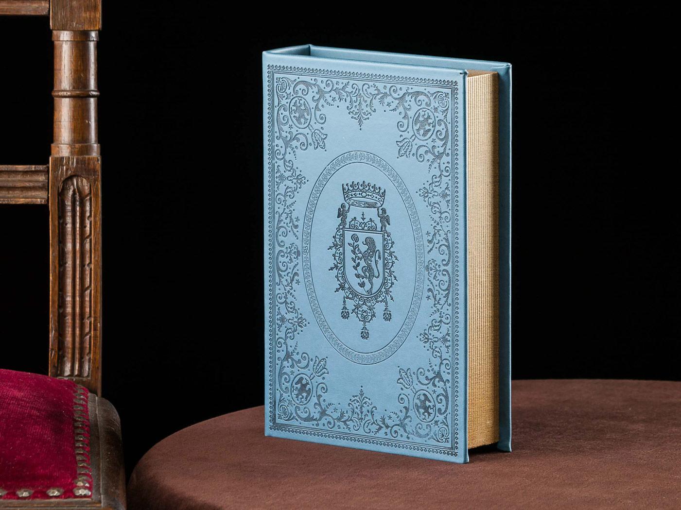 Blue book shape wooden box safe trappe secret book antique style ...