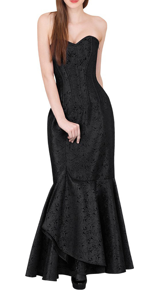 c7de9a6c8dc Longue robe corset brocart noire