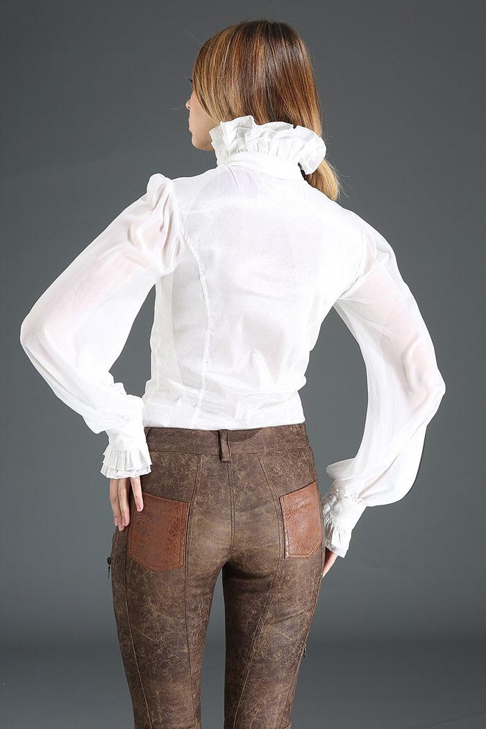 46ee9c512790 Elegant gothic steampunk white shirt with high collar and jabot node ...