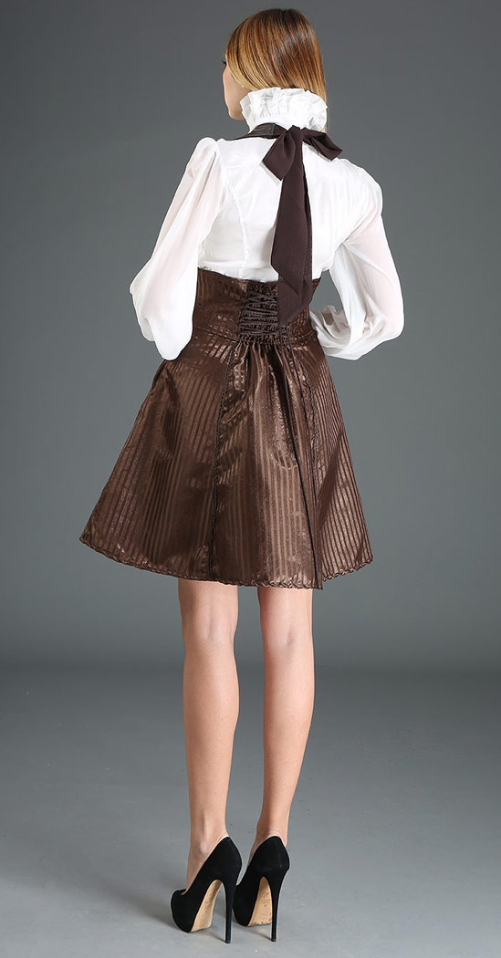 b04fa0bc59 Corset skirt with suspenders striped brown dress steampunk navigator ...