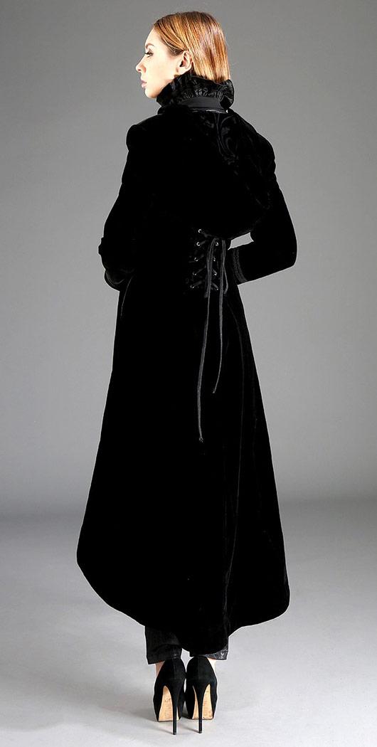 Avec Pentagramme Militaire En Gothique L Velours Long Et Manteau Capuche Noir RqYAAU