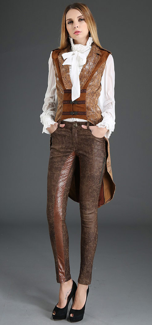 Beige Marron À Pie De Manches Gilet Steampunk gt; Et Japan Queue Sans YqpZI
