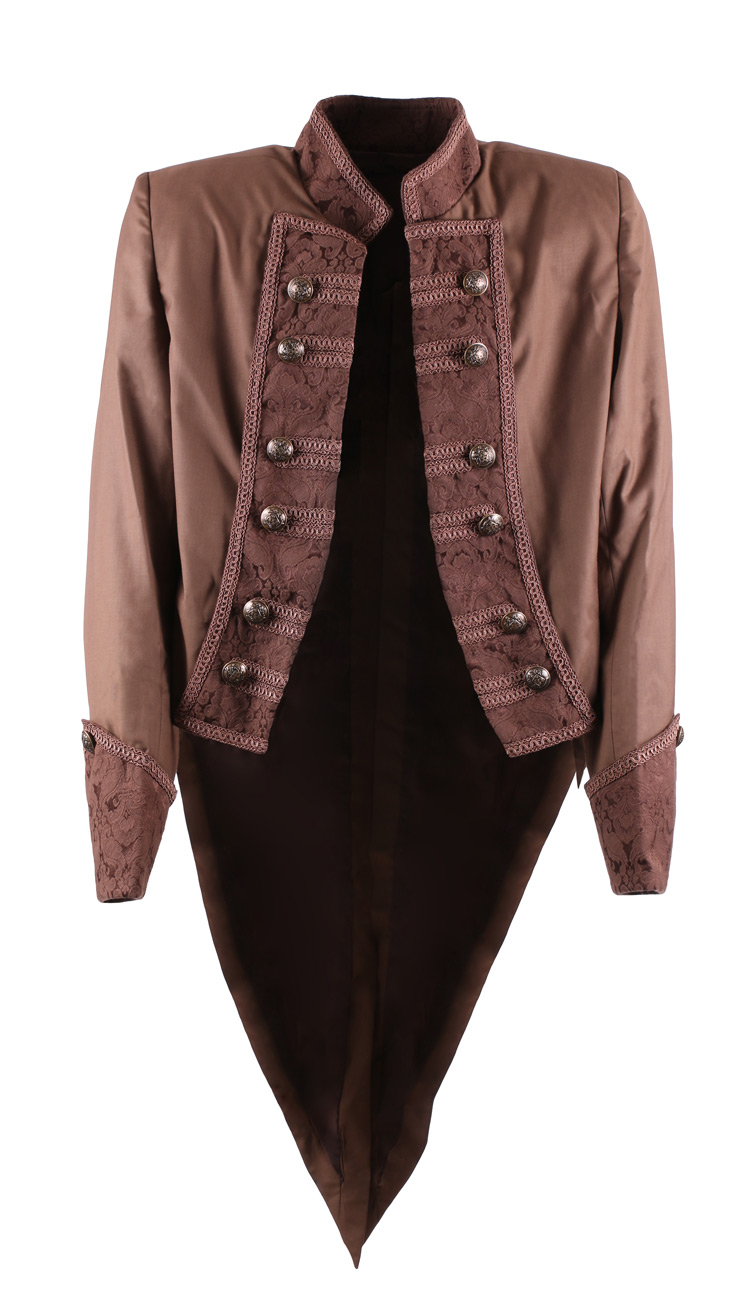 Veste marron motif vintage brocart queue de pie l gant - Veste queue de pie homme pas cher ...