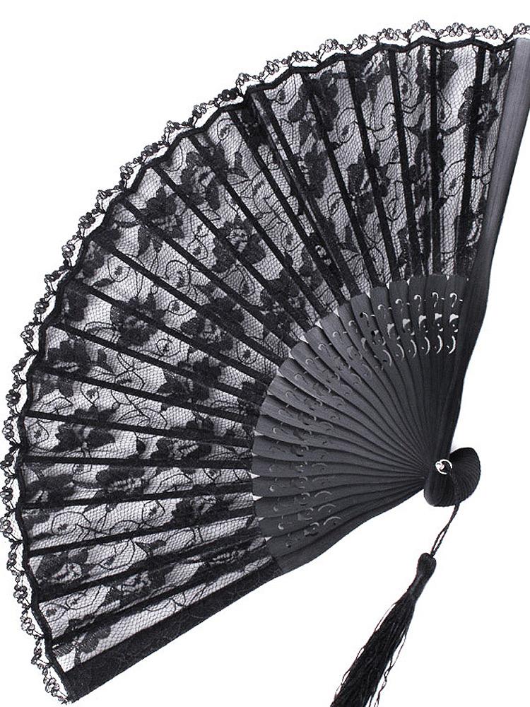eventail en dentelle et bambou noir gothique victorien japan attitude fanta0076. Black Bedroom Furniture Sets. Home Design Ideas