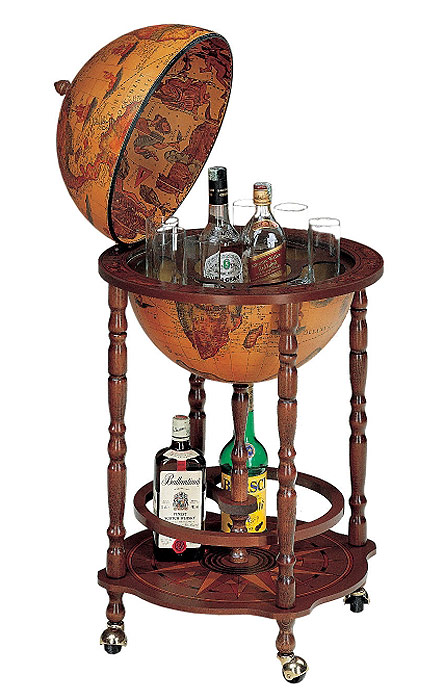 mappemonde globe terrestre bar sur roulette reproduction vintage steampunk japan attitude. Black Bedroom Furniture Sets. Home Design Ideas