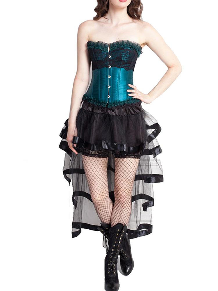 corset bleu turquoise avec dentelle et jupe en tulle noir gothique burlesque japan attitude. Black Bedroom Furniture Sets. Home Design Ideas