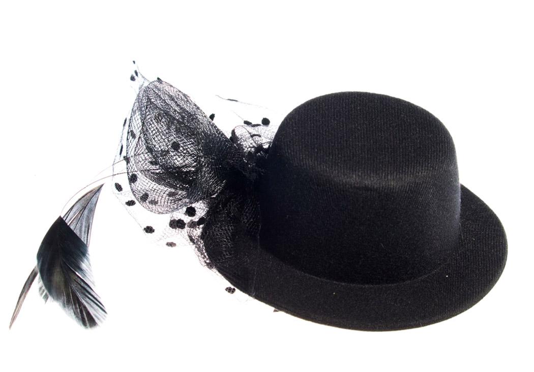 couleur rapide bien pas cher nouvelles promotions Chapeau noir à clip, voile plumetis et plumes, burlesque élégant gothique  Référence : ACCCHA330