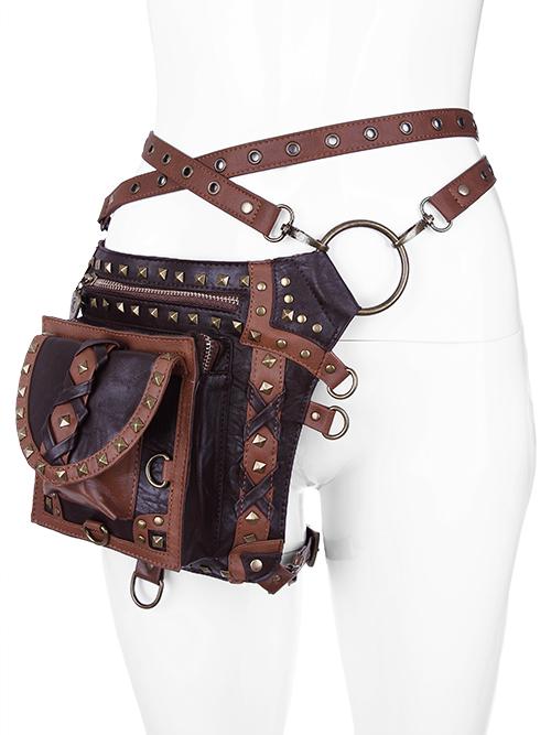 Sacoche ceinture à poche et sangles amovibles marron, steampunk médiéval GN ca1d8d33eec