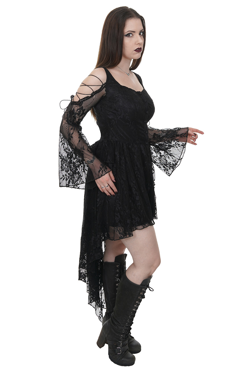 Ro Épaules Manches Dentelle Robe Et Nues Noire Darkinlove En Élégante Gothique TI55wz