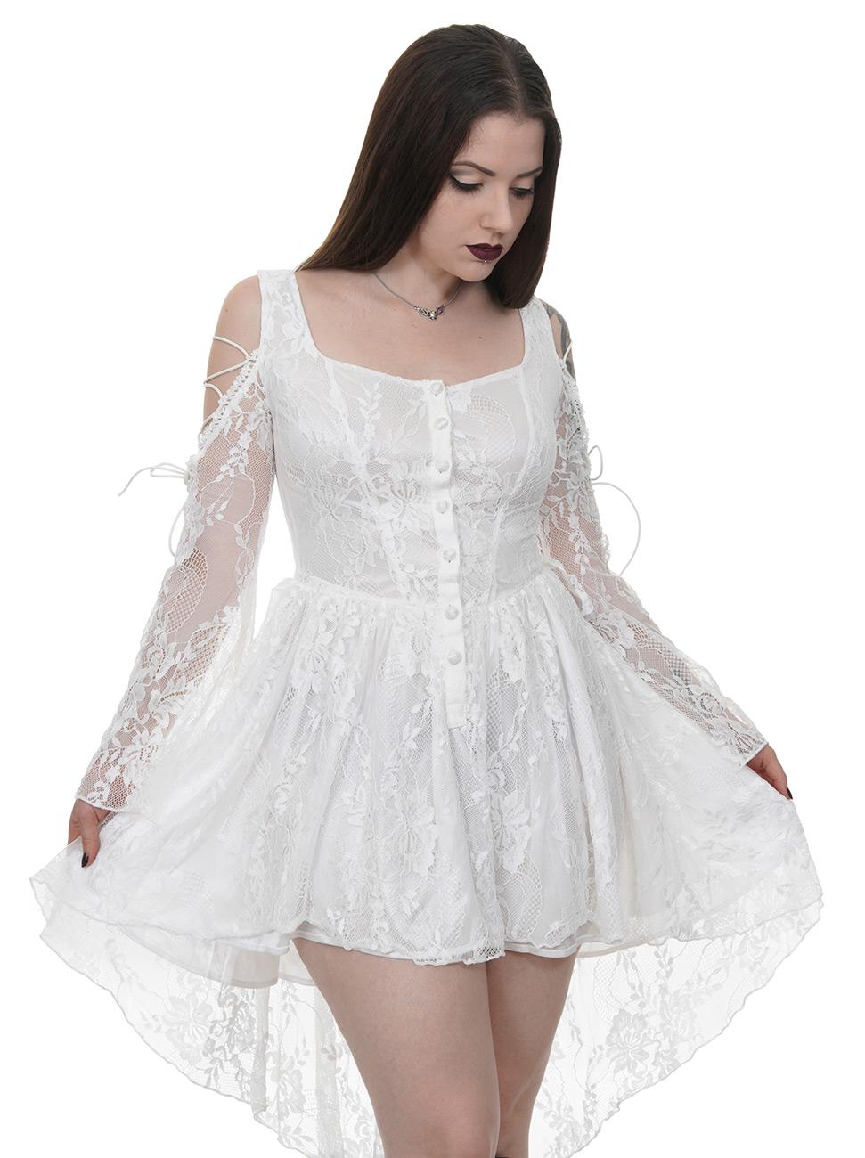 bd0b241dbfd0 Robe blanche épaules nues et manches en dentelle élégante gothique  romantique