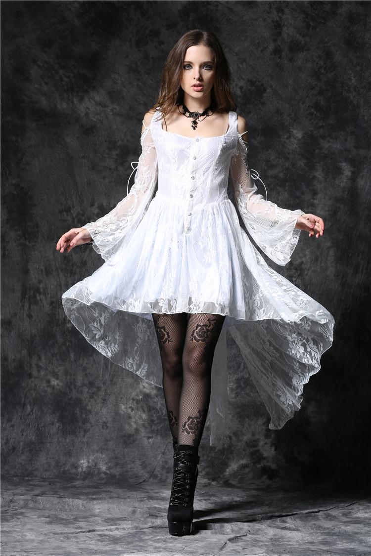 Robe blanche dentelle manche
