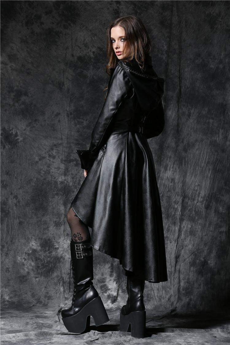 Manteau cuir long femme gothique