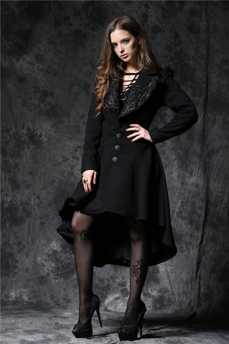 Long manteau noir avec laçage au dos pinup gothique Référence   DARKIL032 87e049e7e907