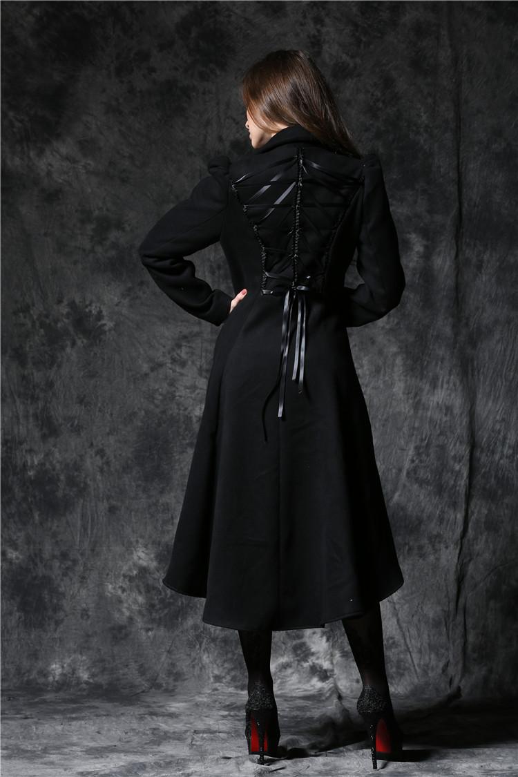 Gothique Noir Laçage Manteau Dos Pinup Long Avec RéférenceDarkil032 Au wPiulOTkXZ