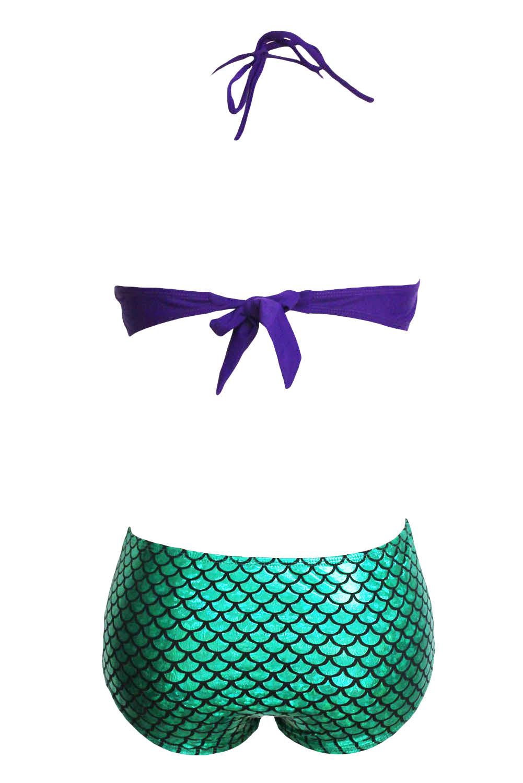 20a8ee5a91 Maillot de bain Ariel écailles sirène vert et coquillage violet ...