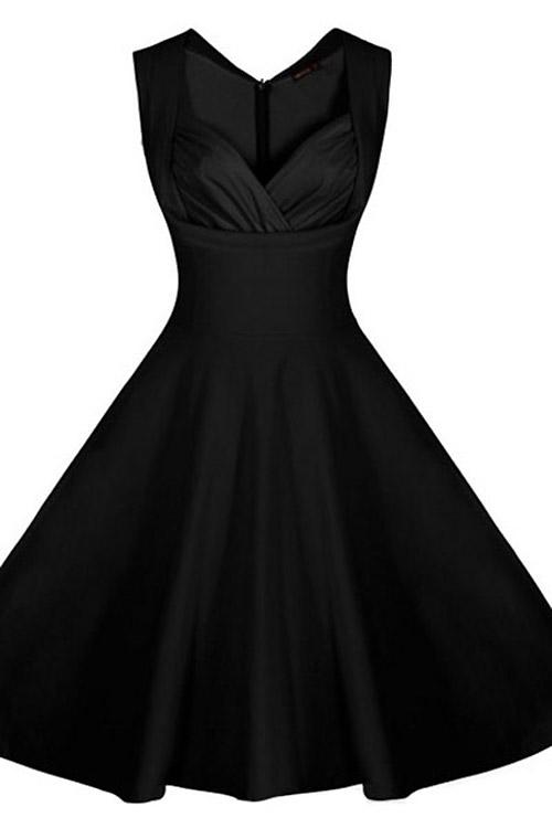 robe noire bretelles et poitrine matelass e ann e 50 vintage retro pinup japan attitude. Black Bedroom Furniture Sets. Home Design Ideas