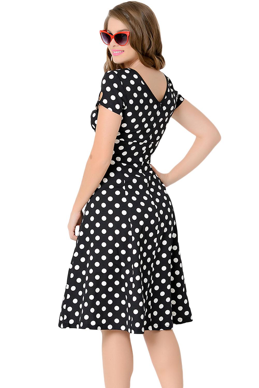 robe noire points blancs ann e 50 vintage retro pinup swing japan attitude vetrob238. Black Bedroom Furniture Sets. Home Design Ideas