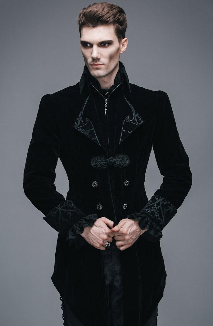 Veste longue noire homme aristocrate en velours avec broderies et ... 013c1d997309