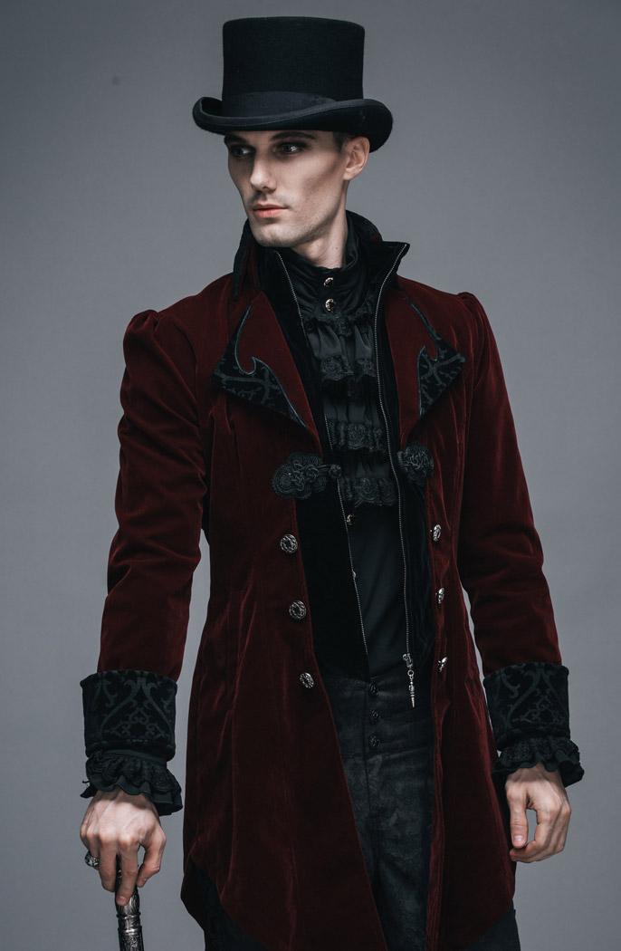 Veste homme longue rouge et noire aristocrate en velours avec broderies et  col bc8e64ece3ec