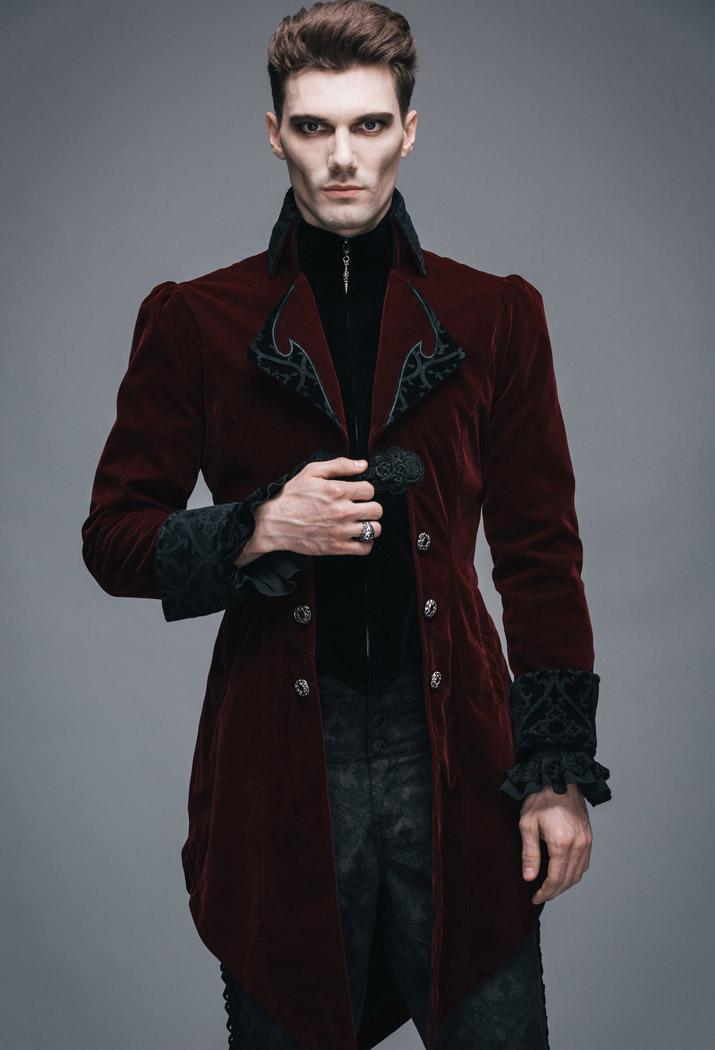 veste homme longue rouge et noire aristocrate en velours. Black Bedroom Furniture Sets. Home Design Ideas