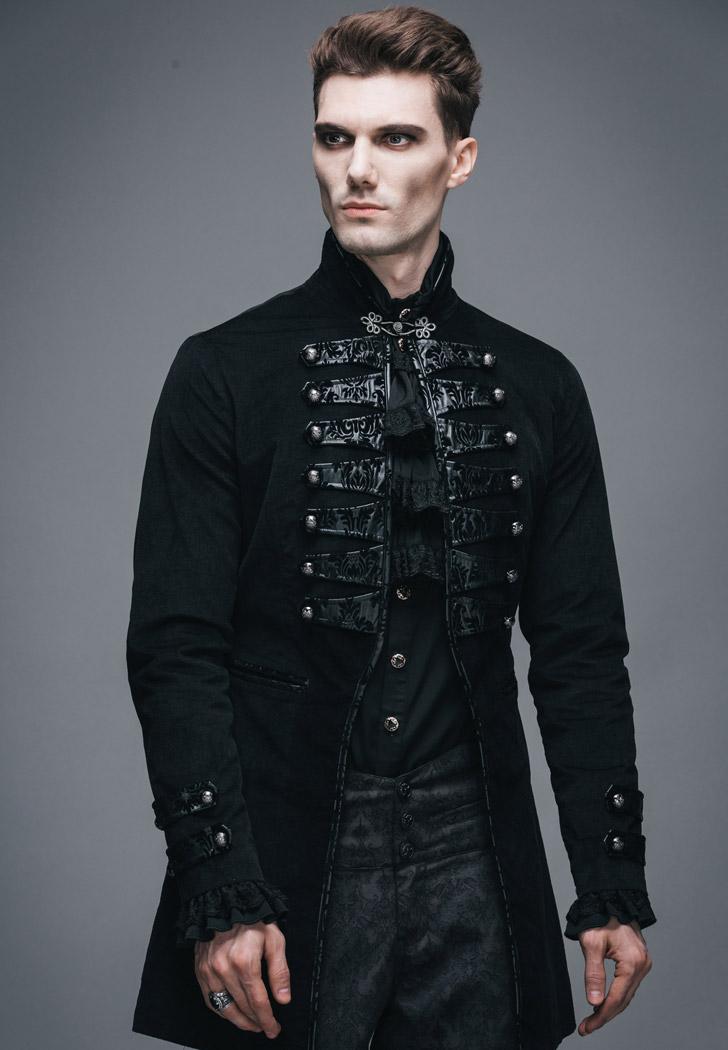 veste homme noire style militaire avec broderies gothique aristocrate japan attitude devfa0056. Black Bedroom Furniture Sets. Home Design Ideas