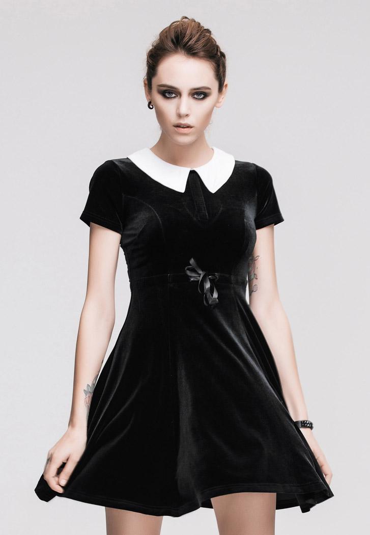 black velvet dress with white collar gothic wednesday. Black Bedroom Furniture Sets. Home Design Ideas