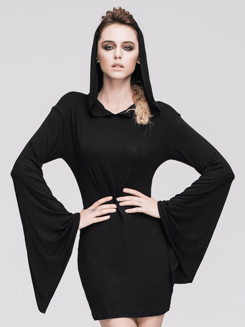38f957123d866 Robe moulante noire avec manches évasées et capuche, sorcière occulte. Cliquer  pour agrandir