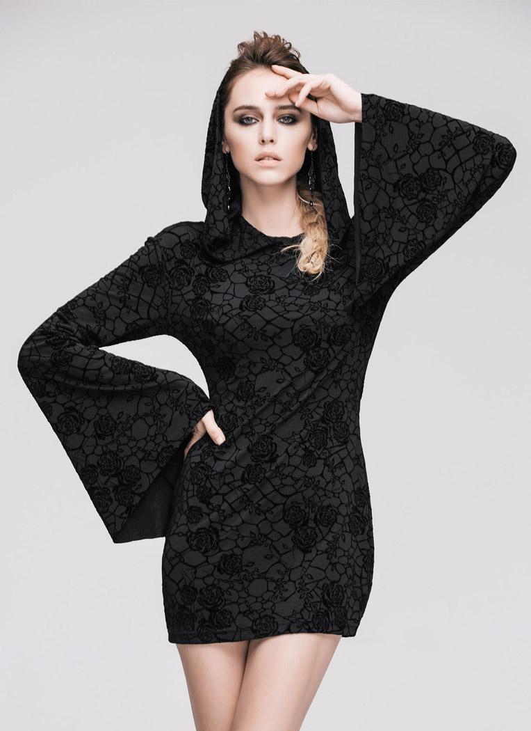 677231a57c60 Robe courte noire à motifs, manches évasées et capuche, sorcière occulte.  Cliquer pour agrandir