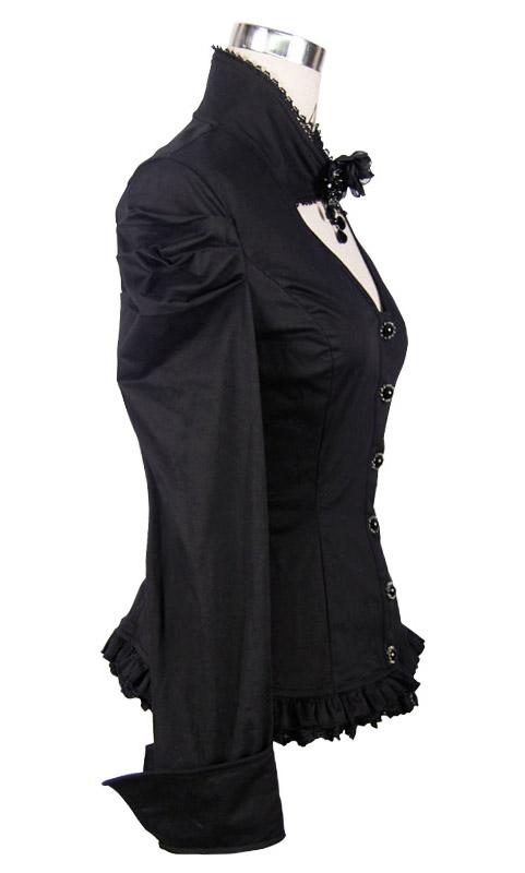 Chemise Noire l Perles Col Gothique Avec Aristocrate Et Rose RRxwqrdO