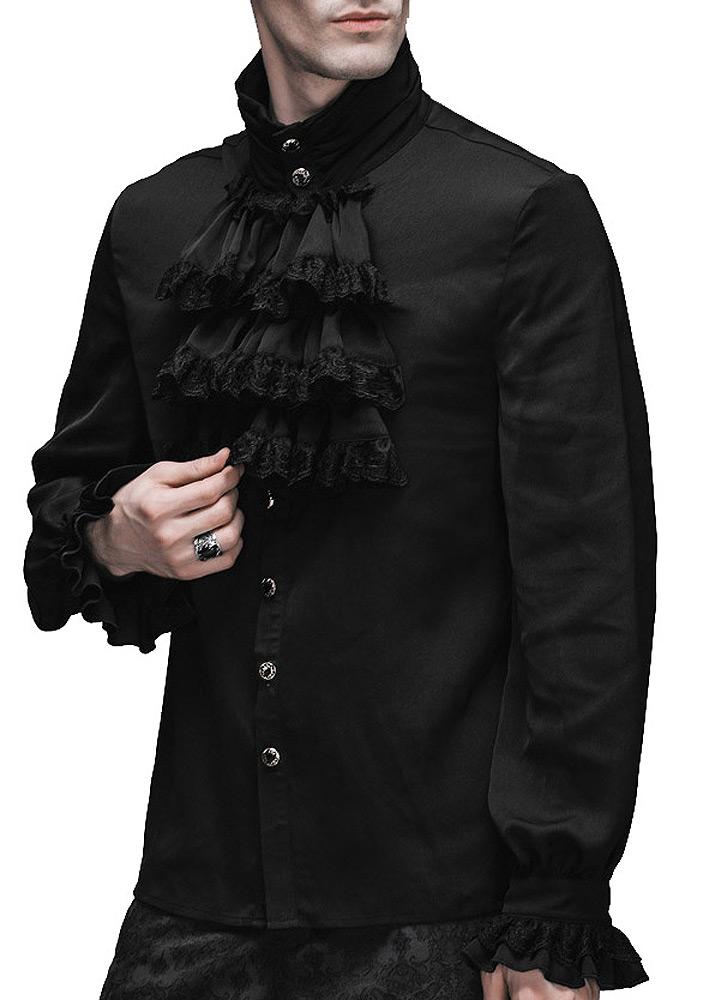 chemise jabot noire homme gothique l gant aristocrate japan attitude devfa0064. Black Bedroom Furniture Sets. Home Design Ideas