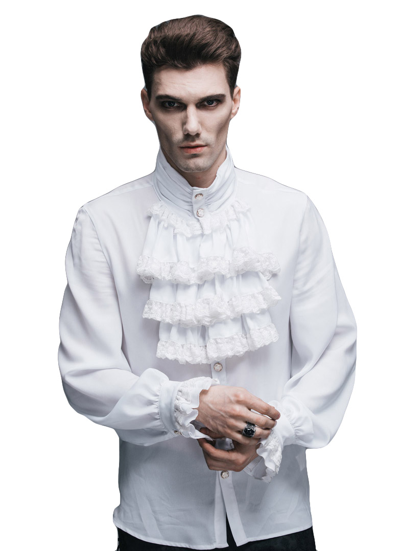 shirt man white jabot elegant gothic aristocrat japan. Black Bedroom Furniture Sets. Home Design Ideas