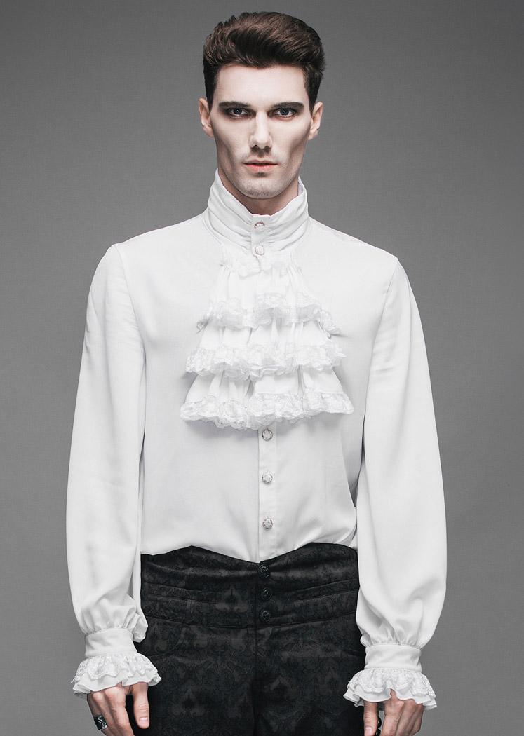 chemise jabot blanche homme gothique l gant aristocrate japan attitude devfa0065. Black Bedroom Furniture Sets. Home Design Ideas