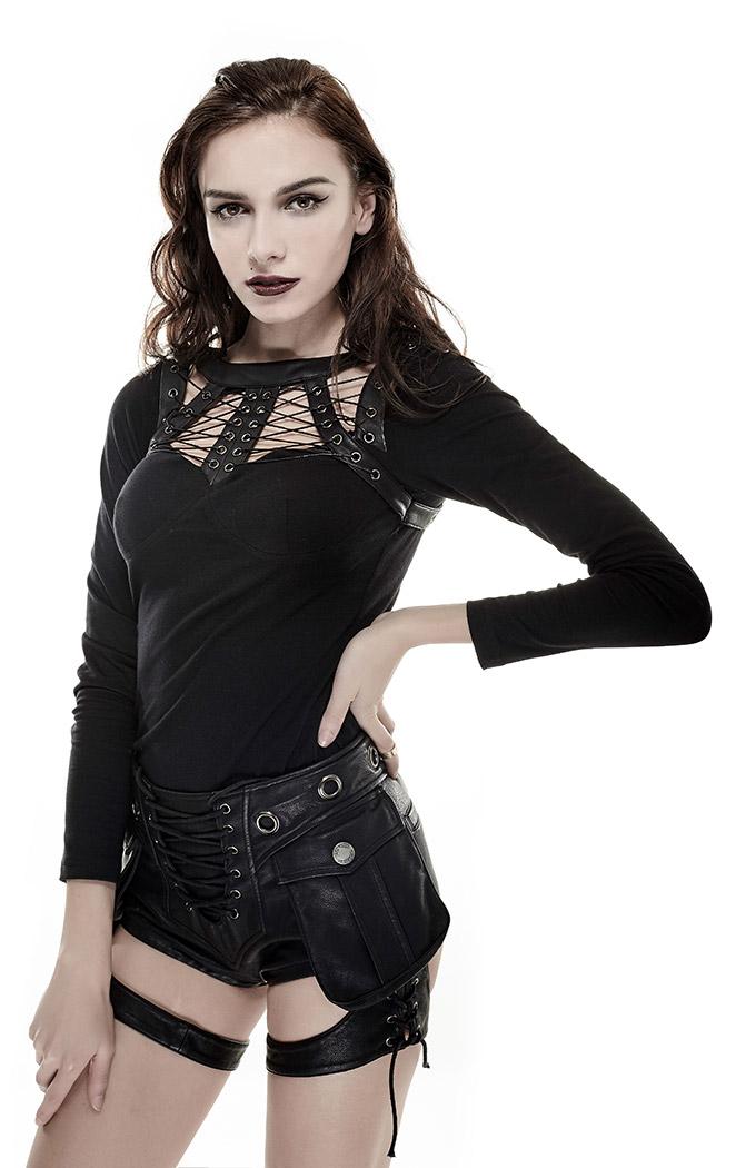 mujer piel corto bolsillos punk y de negro encaje sintética con rave para pantalón Mini grandes 0wqCRR
