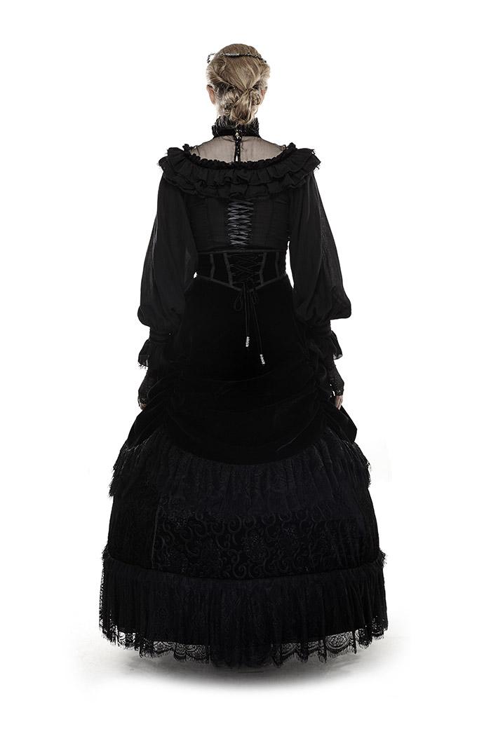 d8bbf2f1d2f20f Jupe longue noire à volants et ceinture effet serre-taille velours gothique  Punk Rave Référence : PUNKR0098