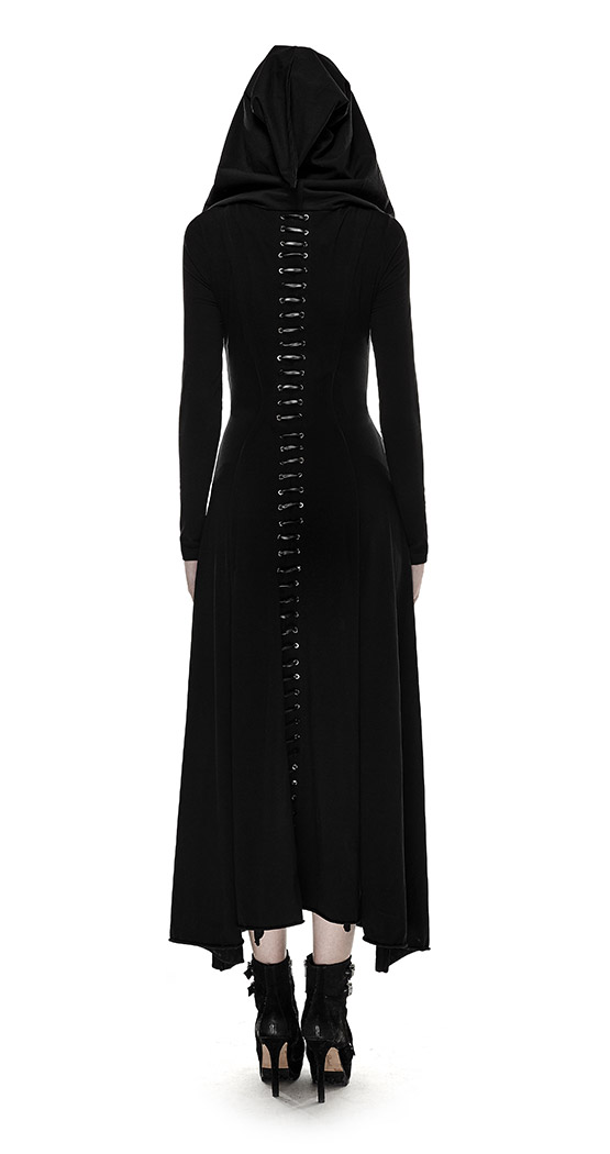 Long black hooded dress with long sleeves witch coven gothic Punk Rave SKU  : PUNKR0106
