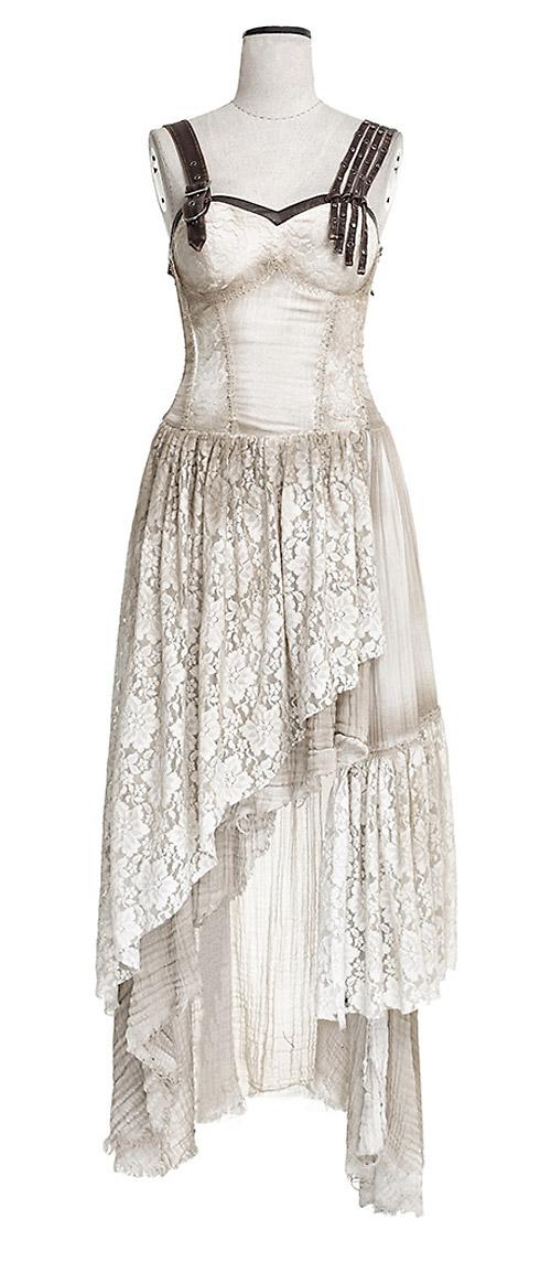 88051af8459 Longue robe beige en dentelle fleurie asymétrique à bretelles gothique Punk  Rave