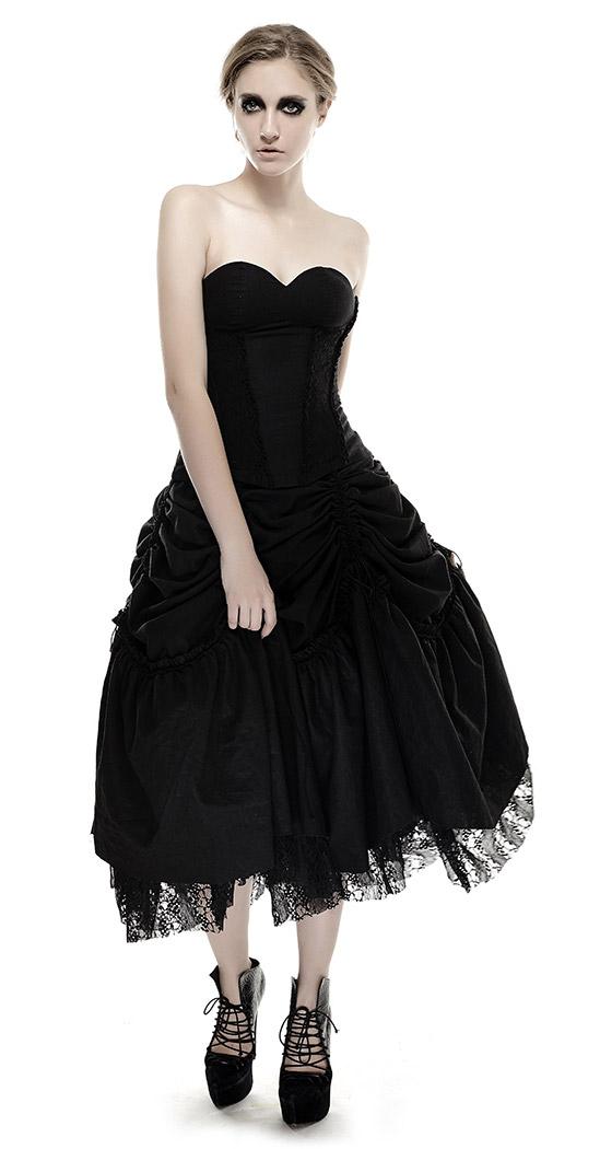 628d16b7574 4 sur 8 Longue robe noire bustier avec jupon dentelle modulable gothique pu  Punk Rave