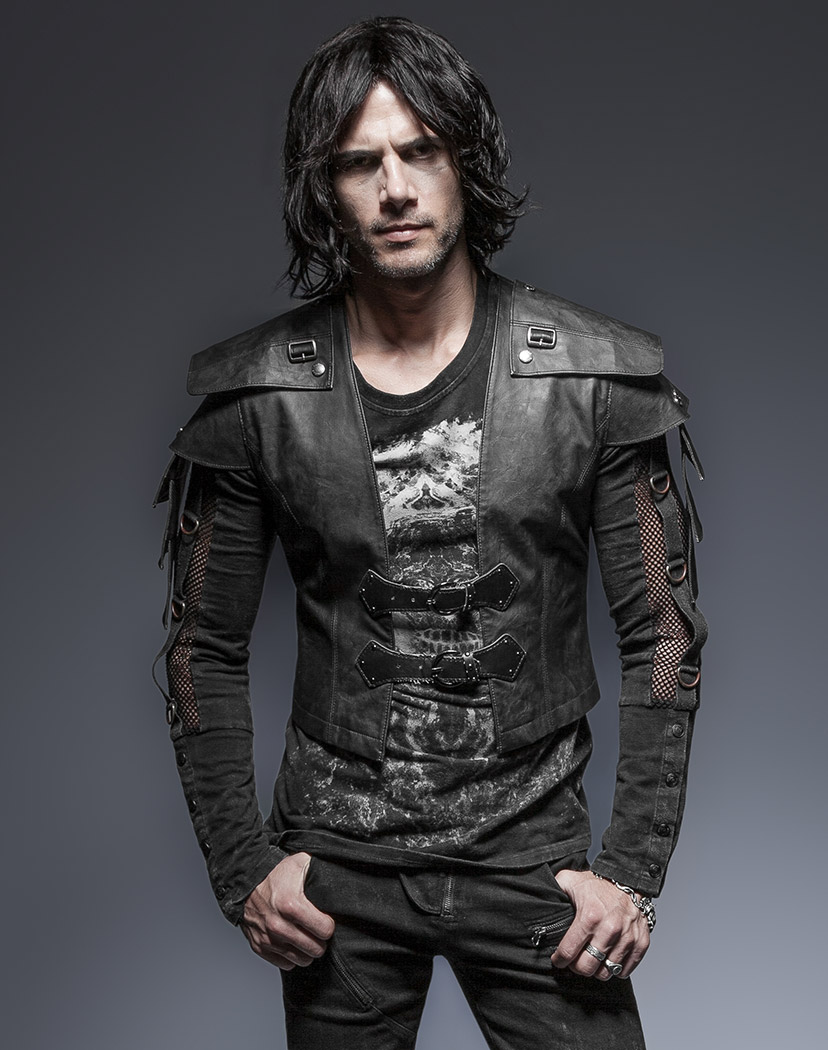 black short men jacket with straps warrior armor vampire medieval punk rave japan attitude. Black Bedroom Furniture Sets. Home Design Ideas