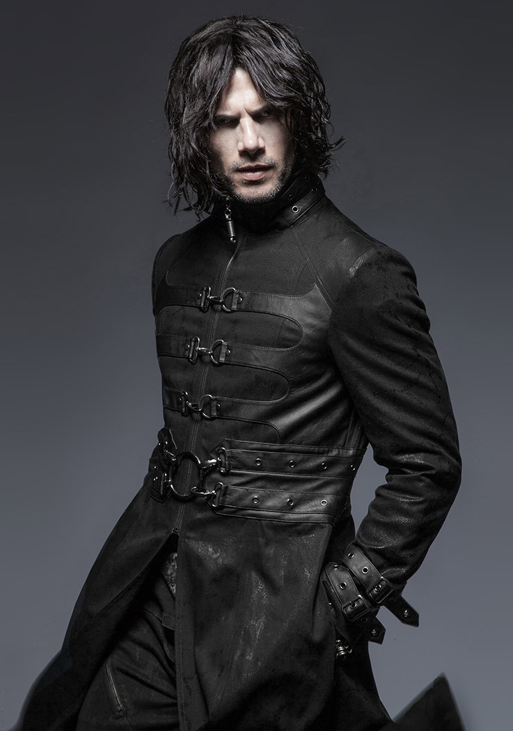 Black Long Men Coat Jacket With Buckles Vampire Gothic