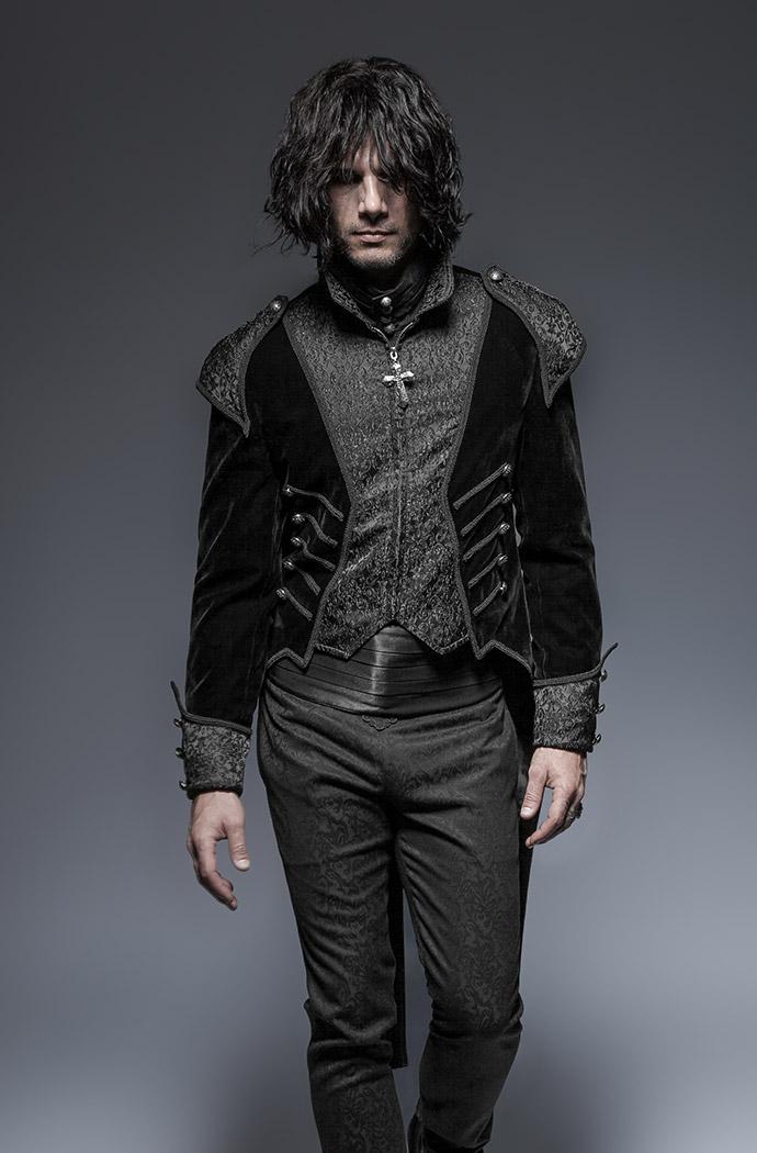 longue veste velours noir queue de pie homme vampire. Black Bedroom Furniture Sets. Home Design Ideas