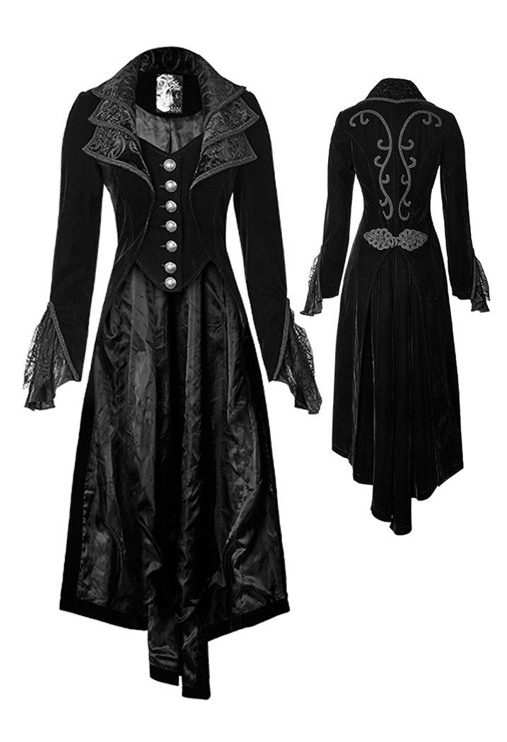 long manteau noir femme en velours avec broderies gothique l gant punk rave japan attitude. Black Bedroom Furniture Sets. Home Design Ideas