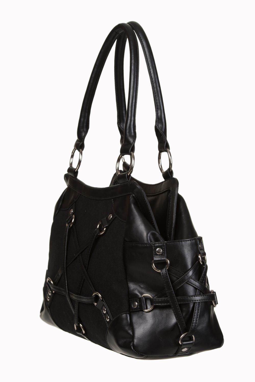 sac main noir pentagramme imitation cuir gothique rock. Black Bedroom Furniture Sets. Home Design Ideas